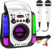 Karaoke set met microfoons en ingebouwde speaker - Fenton SBS30W - 2 karaoke microfoons - Bluetooth - CD G - Lichteffecten - Draagbaar - Wit