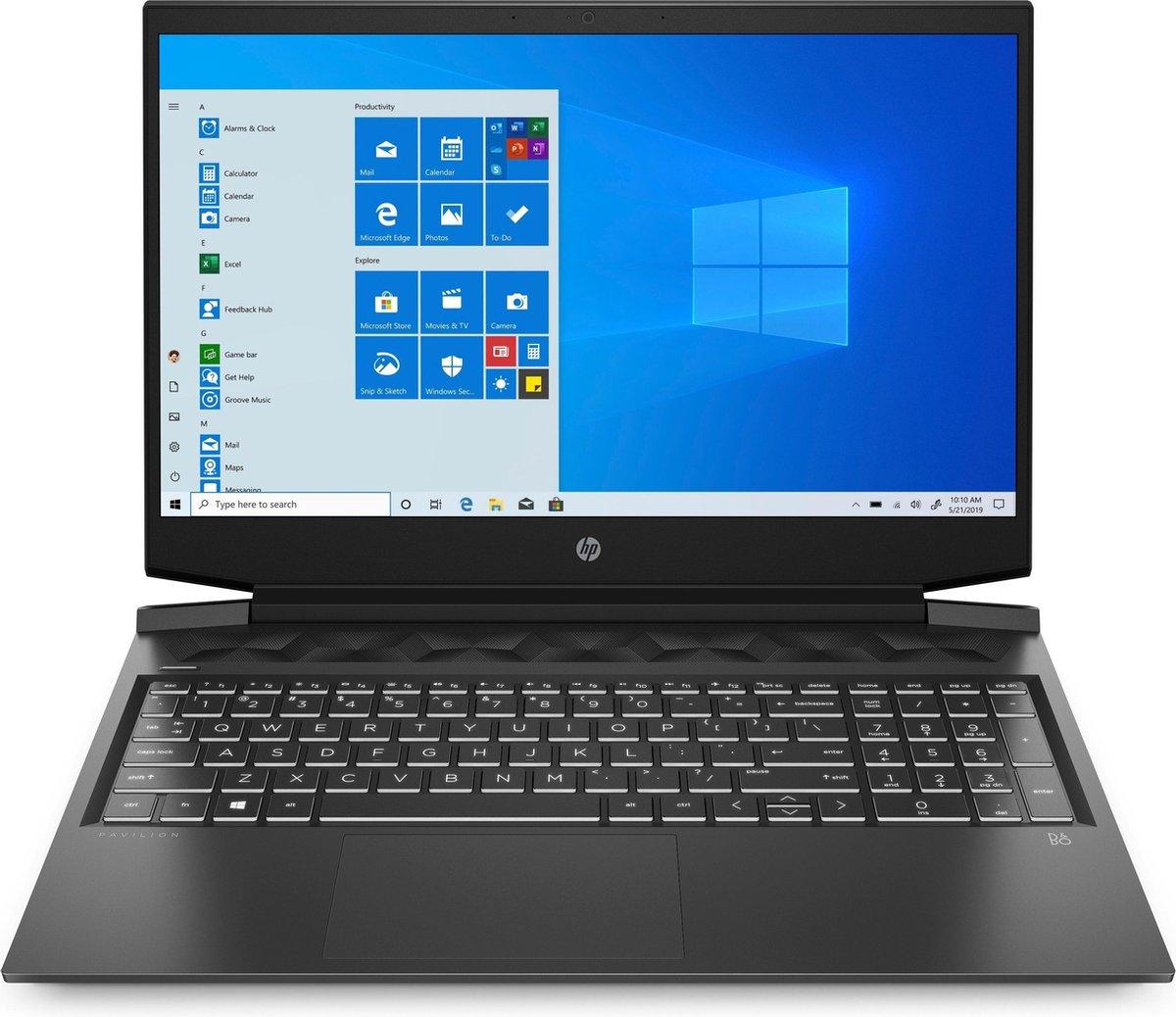 "HP Pavilion Gaming 16-a0174nd DDR4-SDRAM Notebook 40,9 cm (16.1"") 1920 x 1080 Pixels Intel® 10de generatie Core™ i7 16 GB 512 GB SSD NVIDIA GeForce GTX 1660 Ti Max-Q Wi-Fi 5 (802.11ac) Windows 10 Home Zwart, Chroom"