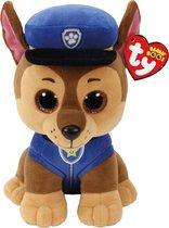 Ty PAW Patrol - Chase - Pluche Knuffel met Glitter Ogen - 24 cm
