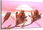 Canvas schilderij Bloem   Roze, Paars, Wit   140x90cm 1Luik