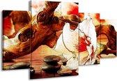 Canvas schilderij Bloem | Wit, Rood, Geel | 160x90cm 4Luik