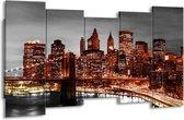 Canvas schilderij New York | Bruin, Zwart | 150x80cm 5Luik