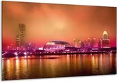Canvas schilderij Stad | Paars, Oranje, Grijs | 120x70cm 1Luik