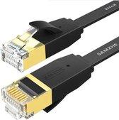 DrPhone Ethernetkabel CAT6 Platte RJ45 Lan Netwerk - 1Gbps (1000 Mbps) - 10 Meter - Zwart