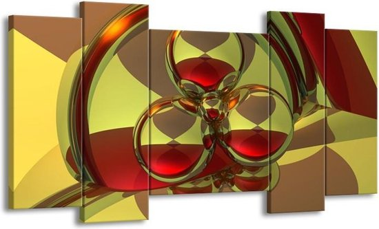 Canvas schilderij Abstract   Groen, Rood   120x65 5Luik