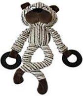 Een knuffeltje in de vorm van een beer bruin gestreept met ringen