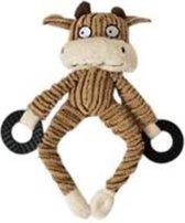 Een knuffeltje in de vorm van een koe bruin gestreept met ringen