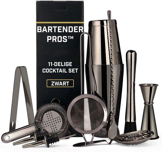 Cocktail Set van Bartender Pros™ - Cocktail Shaker - 11-Delige Set - RVS - Inclusief Lepel & Accessoires - Zwart