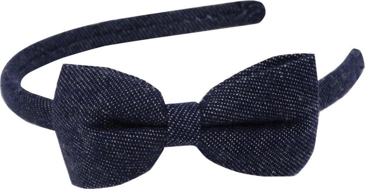 Jessidress Denim Haar Diadeem met Haarstrikje Meisjes Haarband - Donker Blauw - Jessidress