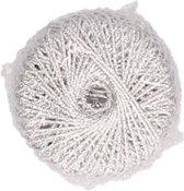 1x Zilveren glitter touw 20 meter hobby/cadeaulint - Cadeau verpakken/inpakken