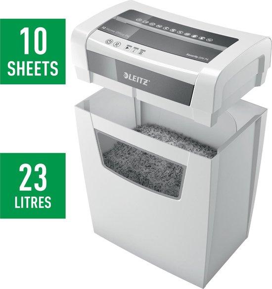Leitz IQ Home Office P4 Papierversnipperaar Voor Thuiskantoor - Tot 10 A4-Vellen - Vernietigt Documenten, Nietjes En Paperclips - Opvangbak Van 23 Liter - Wit