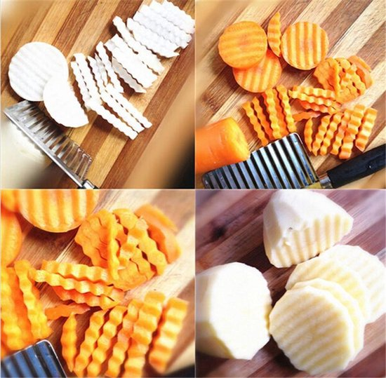 Multifunctioneel Keuken Kartelmes - Gekartelde Dunschiller / Groentesnijder / Patatsnijder / Frietsnijder / Chipsmaker / Keukenmes / Aardappel Snijder