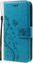 Bloemen Book Case Hoesje iPhone SE (2020) / 8 / 7 - Blauw