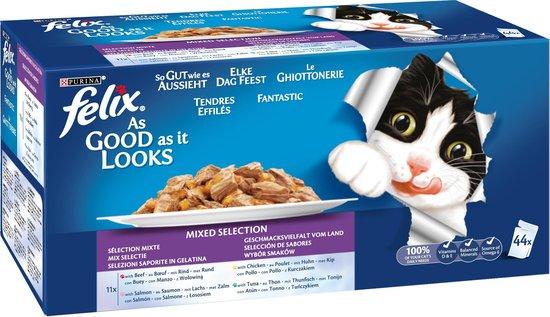 Felix Elke Dag Feest Mix - Katten natvoer - 44 x 100 g