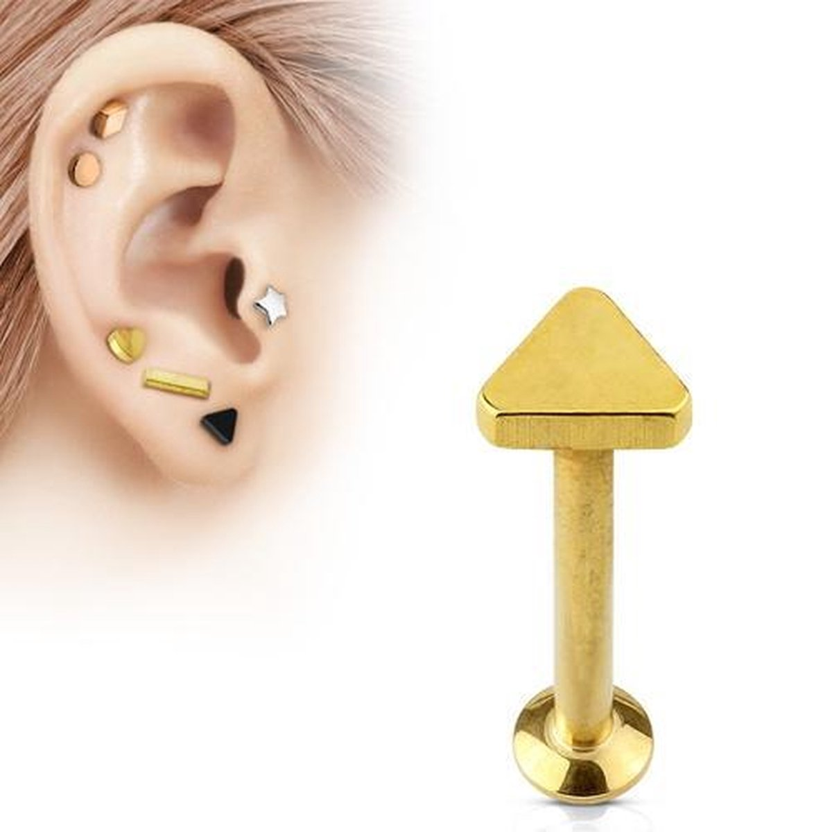 Tragus piercing triangle gold plated 6mm - LMPiercings NL