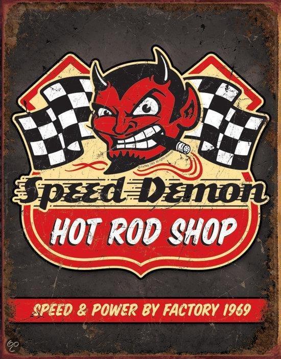 Signs-USA Speed Demon - Retro Wandbord - Metaal - 40x30 cm