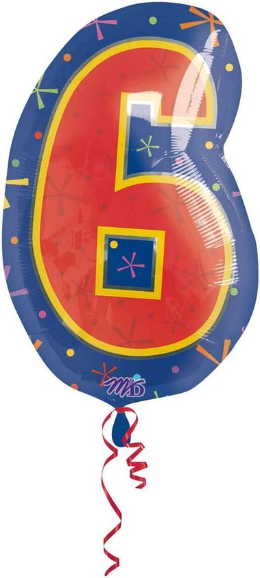 6 jaar cijferballon - 46 cm