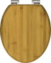 SCHÜTTE WC-Bril 81001 DARK BAMBUS - Massief Bamboe - Verchroomde Scharnieren