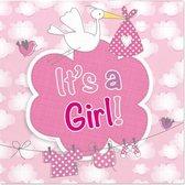 20x Geboorte meisje Babyshower servetten geboorte meisje roze 25 x 25 cm - Feest tafeldecoratie servetjes - Babyshower thema papieren tafeldecoraties