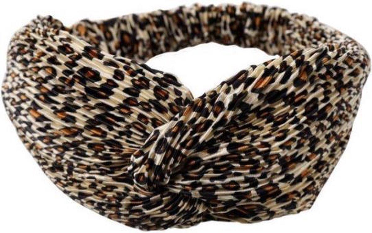 Leopard Wrinkle Haarband | Beige Panter Ribbel Print | Polyester | Fashion Favorite - Merkloos