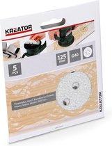 Kreator KRT230553 Schuurpapier rond – Ø125 mm – korrel K40 – 5 stuks - verf