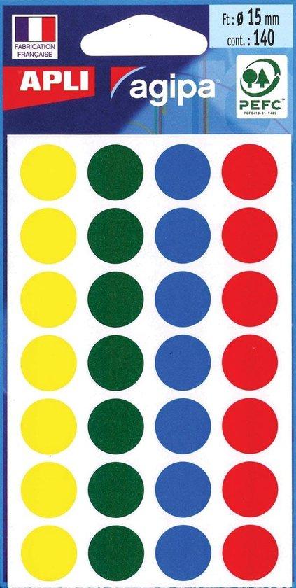 Afbeelding van Agipa ronde etiketten in etui diameter 15 mm, geassorteerde kleuren, 140 stuks, 28 per blad