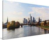 Uitzicht op de Duitse stad Frankfurt am Main Canvas 160x80 cm - Foto print op Canvas schilderij (Wanddecoratie woonkamer / slaapkamer) / Europese steden Canvas Schilderijen