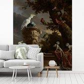 De menagerie - Schilderij van Melchior d'Hondecoeter fotobehang vinyl breedte 200 cm x hoogte 250 cm - Foto print op behang (in 7 formaten beschikbaar)