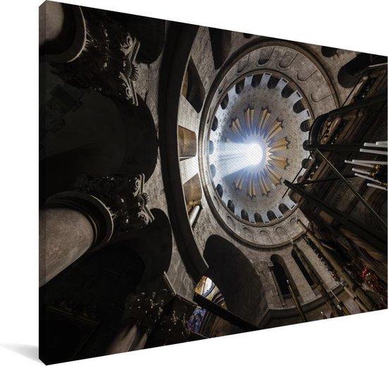 Prachtige zonnestraal door het gat van de koepel in de Heilig Grafkerk Canvas 60x40 cm - Foto print op Canvas schilderij (Wanddecoratie woonkamer / slaapkamer)