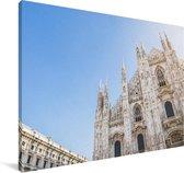 Felle zon boven de Kathedraal van Milaan in Italië Canvas 140x90 cm - Foto print op Canvas schilderij (Wanddecoratie woonkamer / slaapkamer)