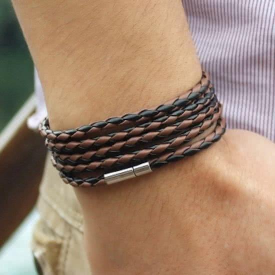 Armband Wikkel - Zwart leer met magneet sluiting - Merkloos