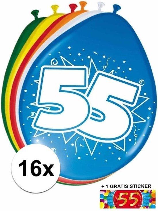 Ballonnen 55 jaar van 30 cm 16 stuks + gratis sticker