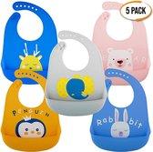 Bramble - Pak van 5 Waterdichte siliconen babyslabbetjes in 5 kleuren – Diep opvangschaal, zacht, verstelbaar, gemakkelijk te reinigen – BPA-vrij, vaatwasserbestendig – Babyslabbetjes ideaal voor het ontbijt