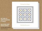 Luxe kerstkaarten met enveloppen, Gouden illustraties - 10 stuks