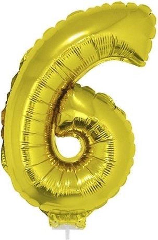 Gouden opblaas cijfer ballon 6 op stokje 41 cm