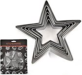 6x uitsteekvorm Ster - RVS Cookie cutters in verschillende maten - 6 sterren