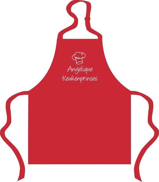 Mijncadeautje - Kinderschort met naam - rood -  Keukenprinses  - met eigen naam naar keuze - mijncadeautje Fashion