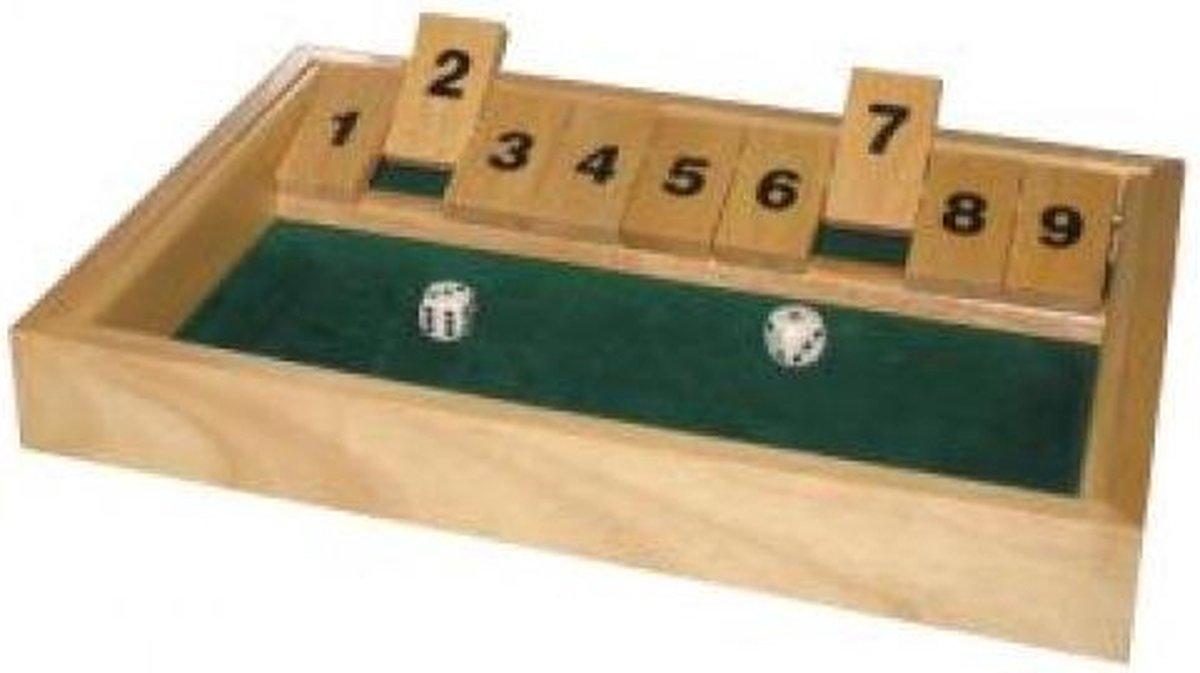 Hot games Shut the box groot 9 cijfers 34x24x3cm hout