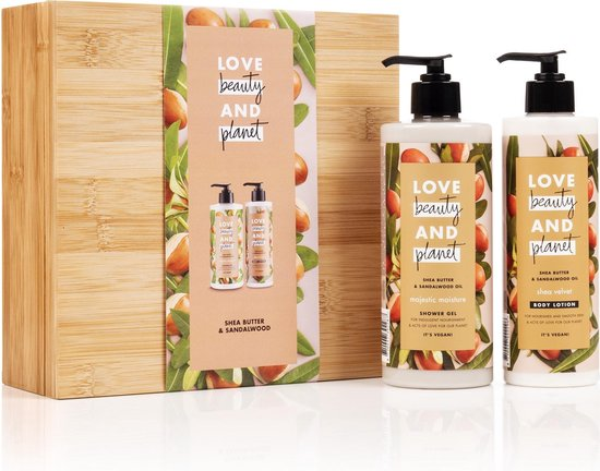Love Beauty and Planet Brown Bamboo Box Shea Butter & Sandalwood - luxe Geschenkset