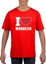 Rood I love Marokko fan shirt kinderen M (134-140)