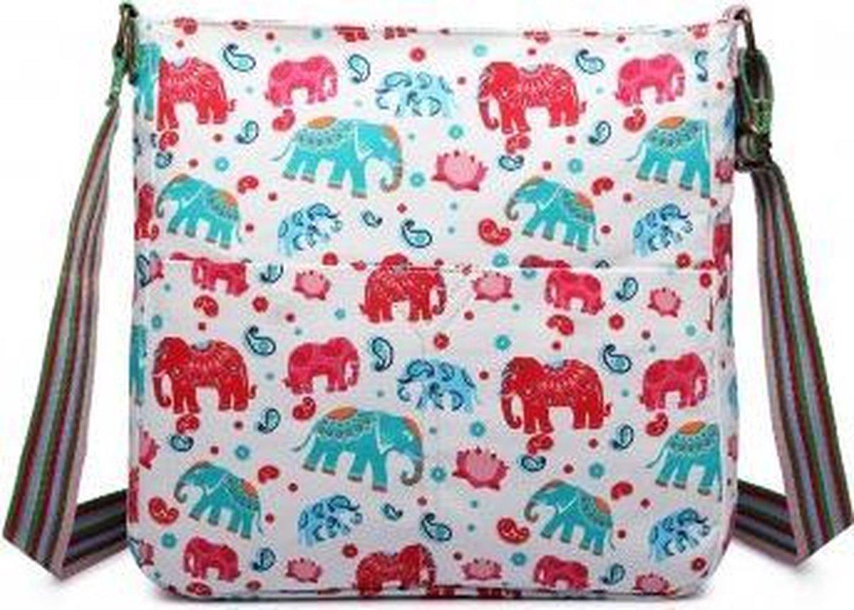 MISS LULU Canvas SCHOUDERTAS  ELEPHANT. Superhandig voor school/uni/werk!(L1104E BG)