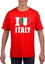 Rood I love Italie fan shirt kinderen M (134-140)