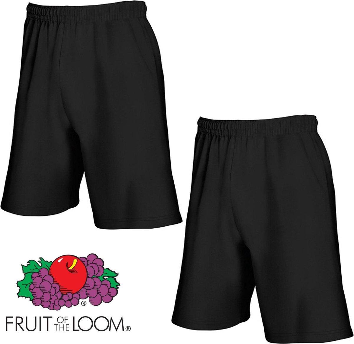 Fruit of the Loom (2 Pack) Korte Broeken Zwart Maat M