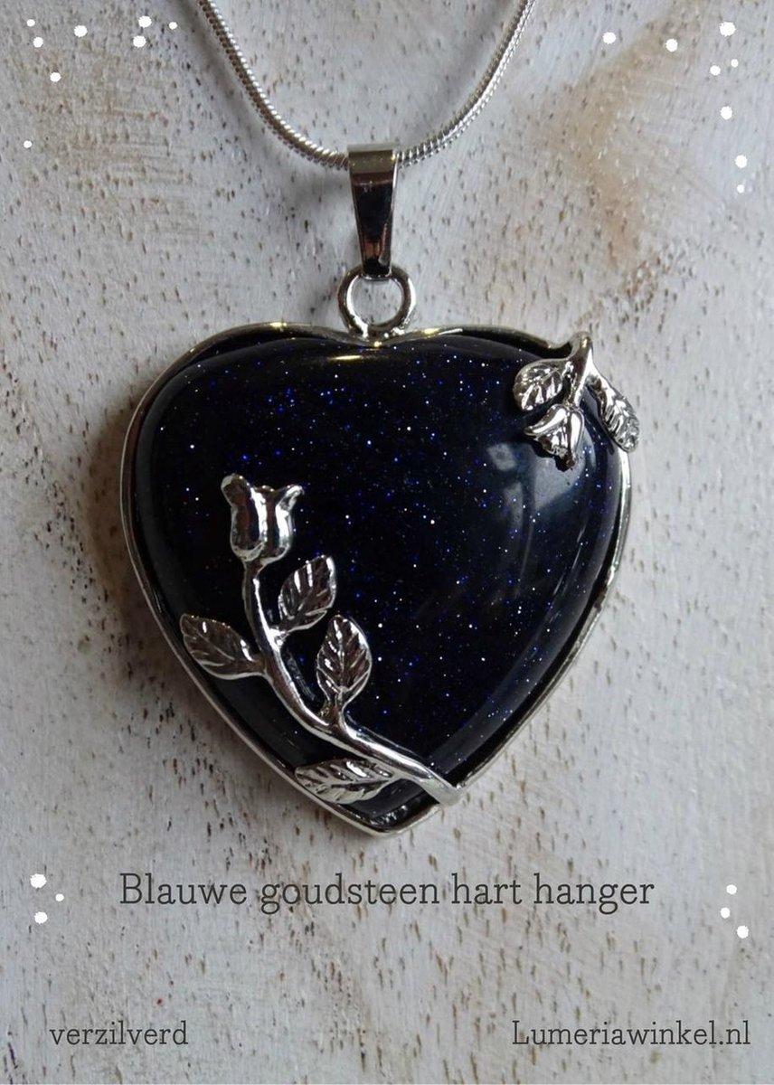 Blauwe Goudsteen edelsteen harthanger - Lumeria