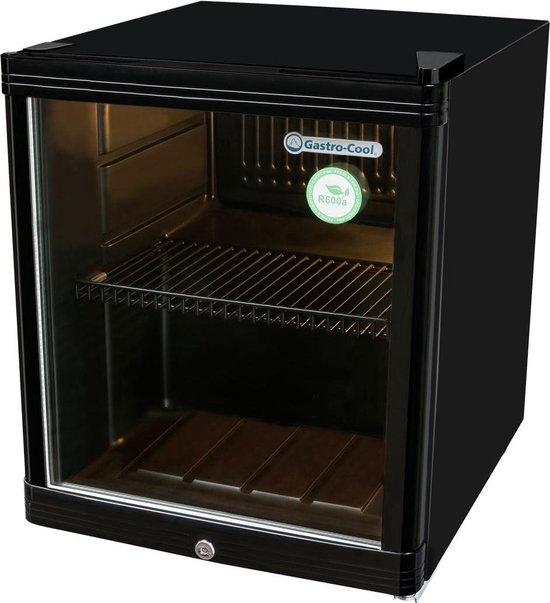 Koelkast: Gastro-Cool KW50 - Mini koelkast met glazen deur 46 Liter - Zwart/Zwart/Zwart 203100, van het merk Gastro-Cool