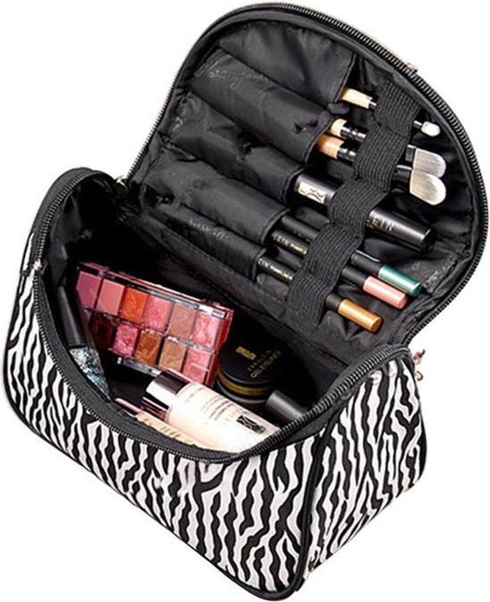 Make up tasje met spiegel - Zebra