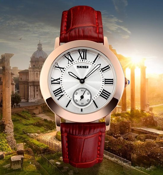Dames Horloge – Rosé Goud – Lederen Band - Polshorloge