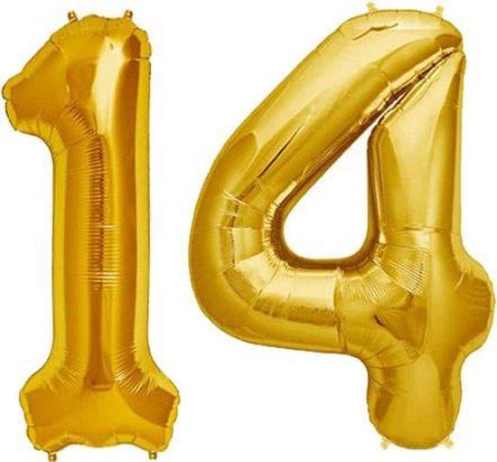 Cijfer 14 Goud Helium 86 cm Excl. Helium