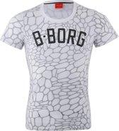 Bjorn Borg T-shirt - Maat L  - Mannen - wit/grijs