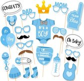 Photobooth party props set - Foto accessoires - Baby shower - 25 stuks - Jongen